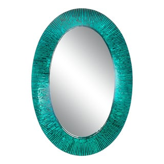 Late 20th Century Ovular Turquoise Faux Mother of Pearl Mirror For Sale
