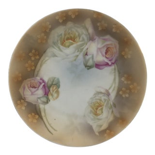 Antique Erdmann Schlegelmilch Hand-Painted Rose Plate For Sale