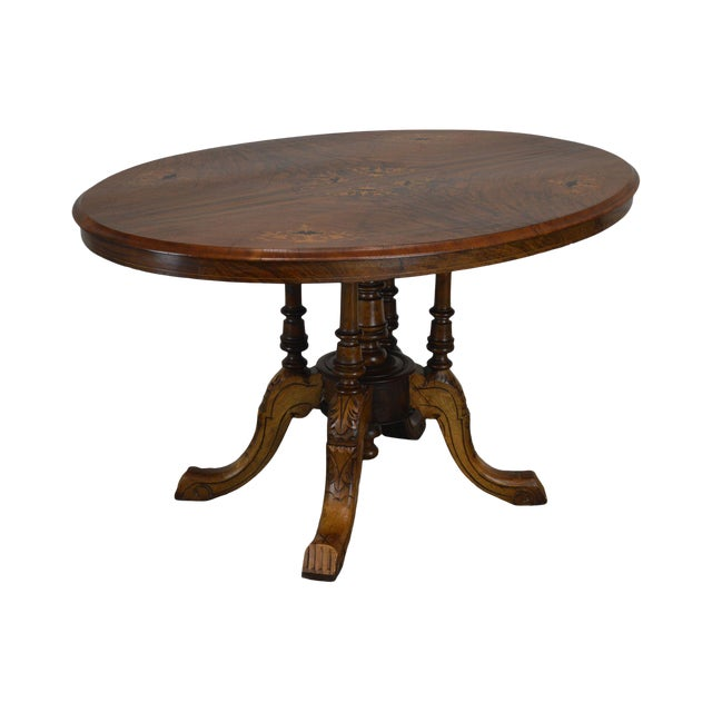 Antique Burl Walnut Victorian Inlaid Oval Parlor Table For Sale