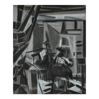 Cubist Charcoal Study of Vermeer, Circa 1950 For Sale