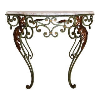 Antique French Wrought Iron and Marble Console For Sale