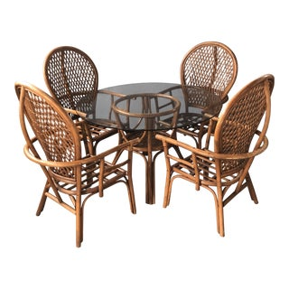 1970s Vintage Rattan Bamboo Fan Peacock Dining Set- 5 Pieces For Sale