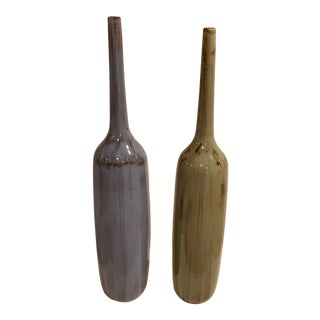 Vintage Two Green and Lavender Ceramic Vases - a Pair For Sale
