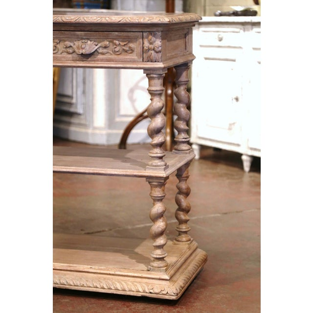 French 19th Century French Henri II Carved White Washed Oak and Marble Sideboard Server For Sale - Image 3 of 13