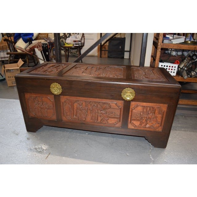 1950s Vintage Chinese Rosewood Hand Carved Camphor Interior Trunk For Sale - Image 9 of 9