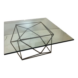 1970s Mid-Century Modern Milo Baughman for Directional Geodesic Bronzed Coffee Table For Sale