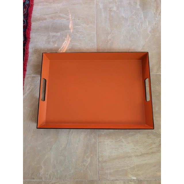 Beautiful mid century modern soft orange and espresso brown equestrian Hermès inspired serving bar tray. Rectangle with...