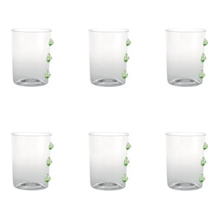 Petoni Tumbler in Transparent with Green Dots - Set of 6 For Sale