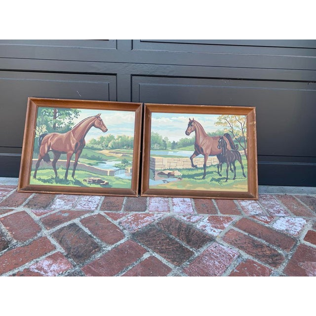 Late 20th Century Vintage Paint by Numbers Horse Paintings - a Pair For Sale - Image 5 of 5