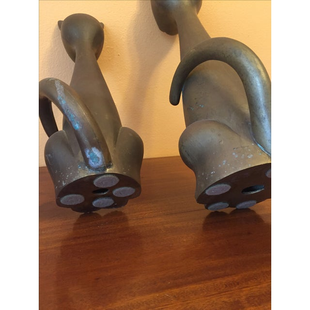 Mid Century Modern Brass Cats - A Pair - Image 9 of 10
