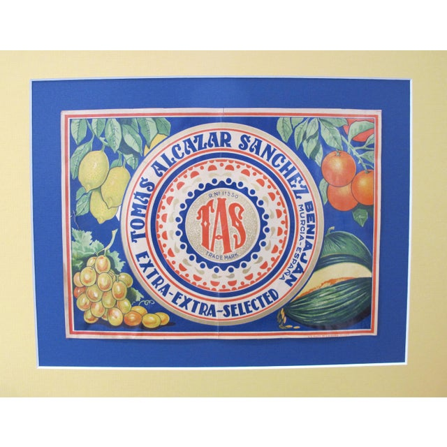 1920's Original Spanish Art Deco Vegetable Crate Label - Tas - Tomas Alcazar Sanchez From Murcia Spain For Sale - Image 4 of 4