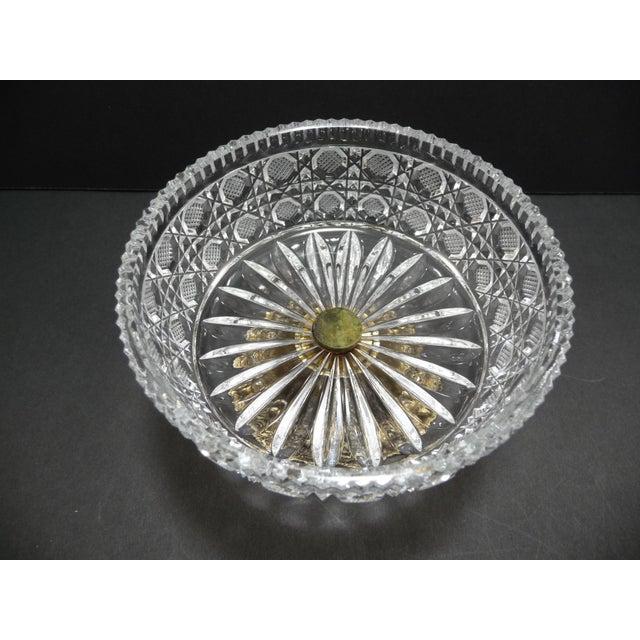 Belle Epoque Vintage Cut Crystal Compote Dish on Metal Pedestal For Sale - Image 3 of 8