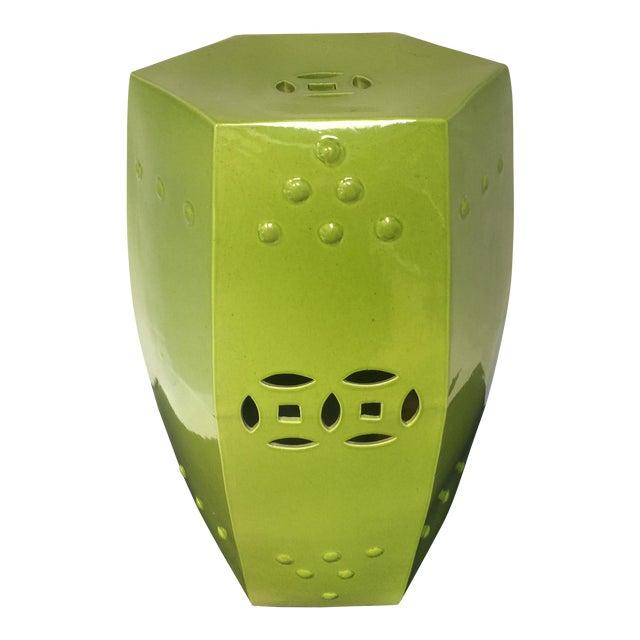 Asian Style Chartreuse Garden Stool For Sale