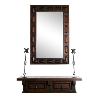 Spanish Revival Style Wall Hanging Console Table and Mirror After Artes De Mexico Internacionales For Sale
