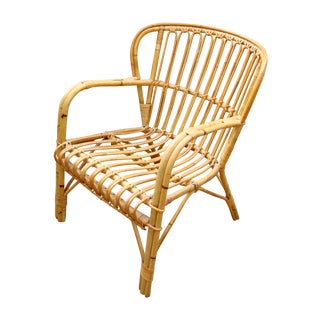 Franco Albini Mid-Century Rattan Bentwood Chair