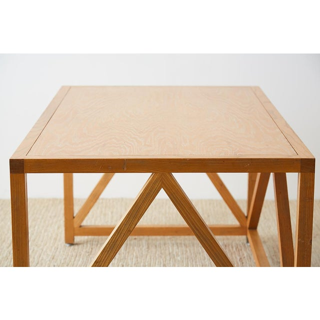 Mid-Century Modern Oak Architectural Writing Table Desk For Sale - Image 4 of 13