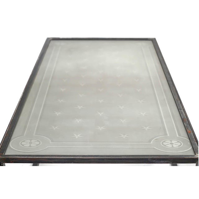 Glass 1900 Vintage French Etched Glass and Steel Coffee Table For Sale - Image 7 of 7
