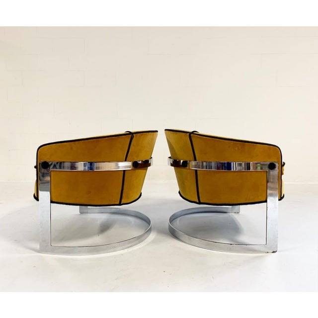 Modern Mid Century Vintage Milo Baughman Velvet With Brazilian Cowhide Welting Lounge Chairs - a Pair For Sale - Image 3 of 13