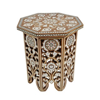 Moorish Inlay Shell Side Table For Sale