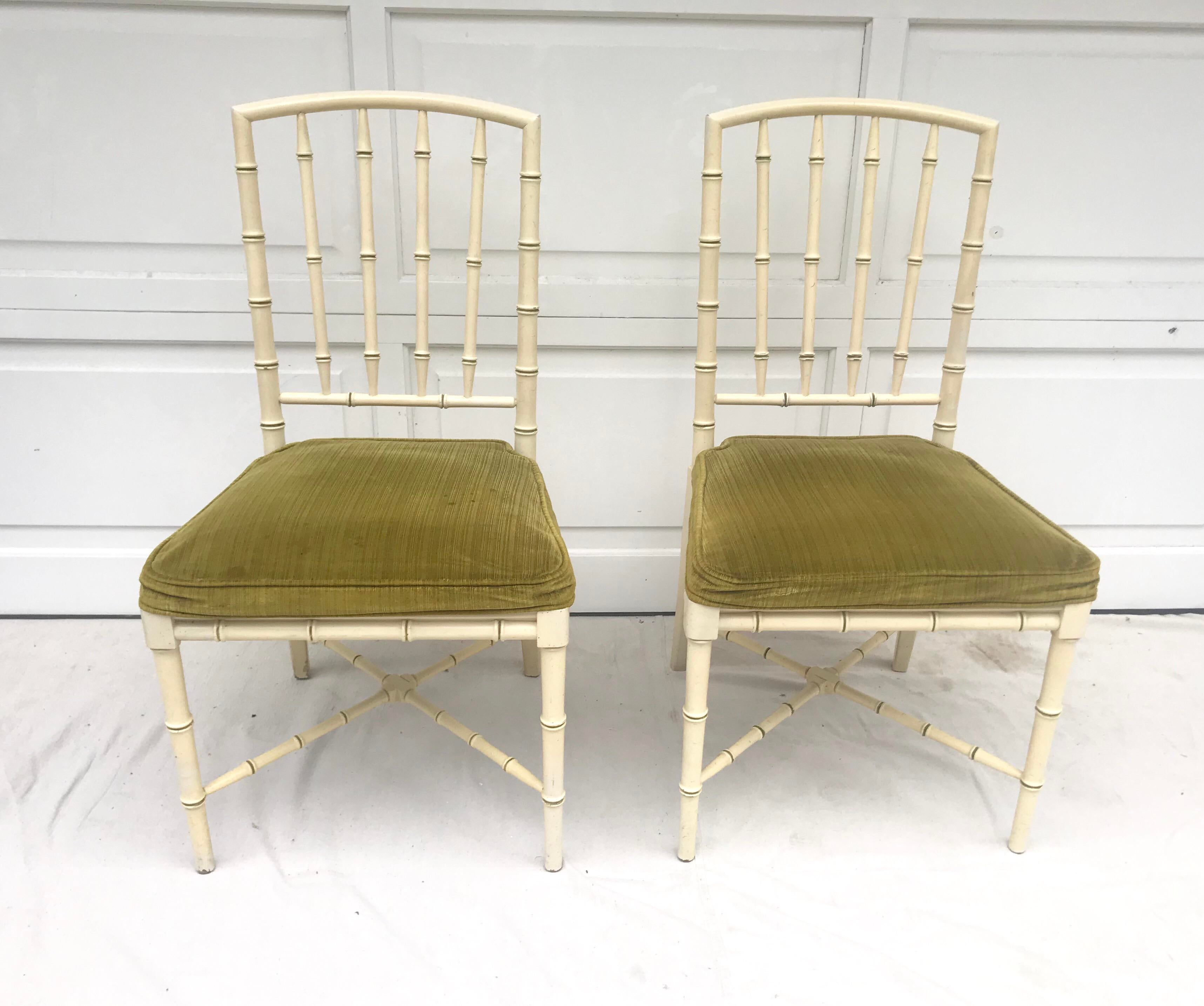 Faux Bamboo 20th Century Hollywood Regency Drexel Heritage Faux Bamboo  Chairs   A Pair For Sale