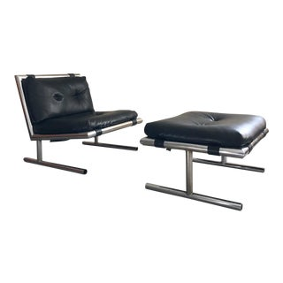 1970s Mid Century Modern Lounge Chair & Ottoman Designed by Arthur Umanoff For Sale