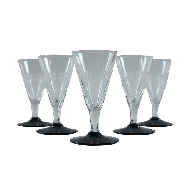 French Etched Sherry Glasses - Set of 5 - Image 1 of 2