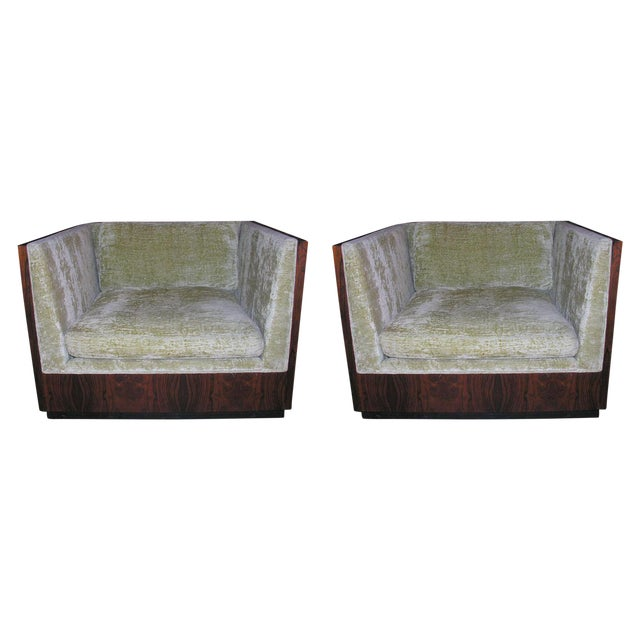 Milo Baughman Rosewood Cube Club Chairs - a Pair For Sale