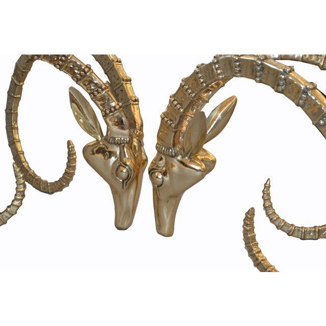 Alain Chervet Hollywood Regency Bronze Rams Head Coffee Table Attributed to Alain Chervet For Sale - Image 4 of 13