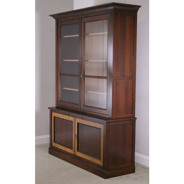 High Quality French Cherry Wood Double Glass Door Bookcase with Cabinet Base and Slide Out Writing Surface Store Item#: 23854