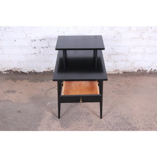 Paul McCobb Planner Group Two-Tier Ebonized End Table or Nightstand, 1950s For Sale In South Bend - Image 6 of 10