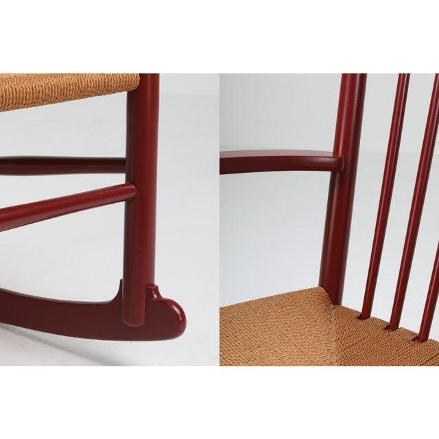 Hans Wegner J16 Rocking Chair in Burgundy For Sale - Image 6 of 9