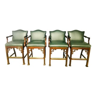 1980s Vintage Classic Leather Dark Green Leather Bar Stools- Set of 4 For Sale