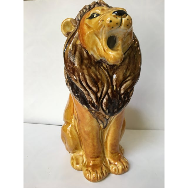 Vintage Italian Hand Painted Lion Pitcher For Sale - Image 4 of 12