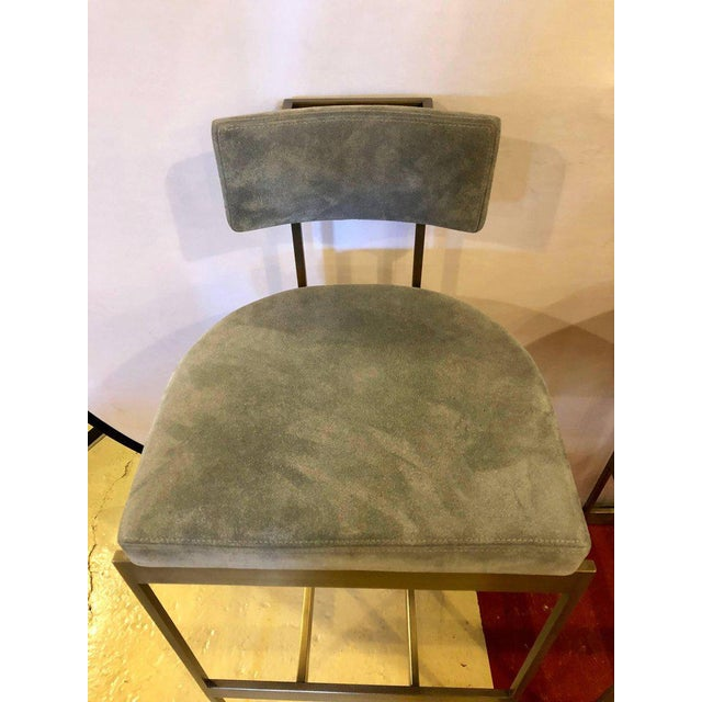 Set Of Four Powell And Bonnell 'Alto' Suede Bar Stools. Alto Stool (9982 / 9983) Lightweight plated steel stool, finished...