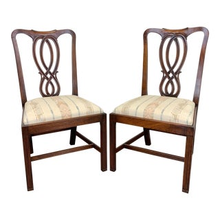Bevan Funnell Reprodux Mahogany Georgian Straight Leg Side Chairs - Pair 1 For Sale