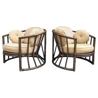 Vintage Brown Jordan Rattan Chairs, Pair For Sale