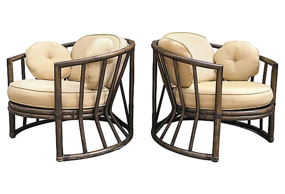 Vintage Brown Jordan Rattan Chairs, Pair