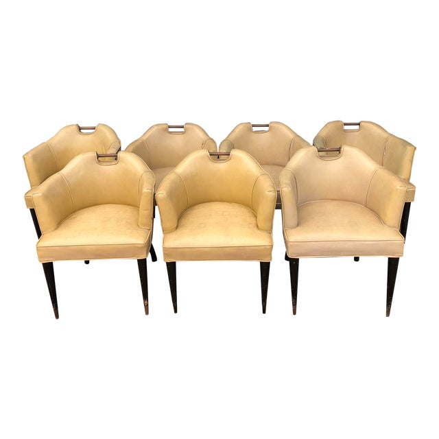 1950's Vinyl English Pub Club Chairs - Set of 7 For Sale