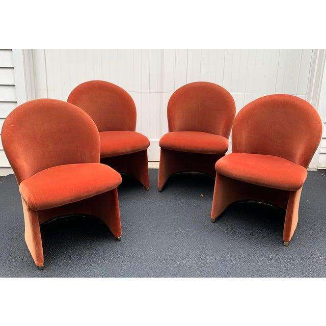 Contemporary 1980's Velvet Chairs With Brass Base - Set of 4 For Sale - Image 3 of 13
