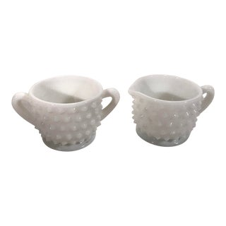 Vintage Milk Glass Hobnail Cream and Sugar - Set of 2 For Sale