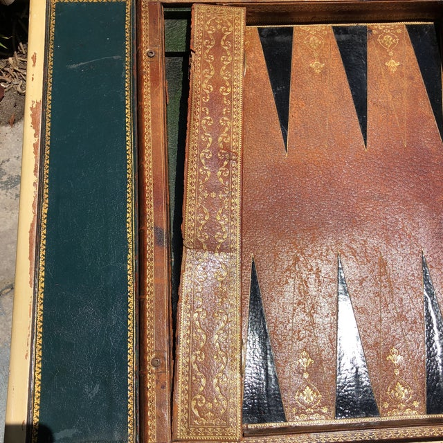 20th Century Hollywood Regency Leather Bound Book Backgammon Table For Sale In West Palm - Image 6 of 13
