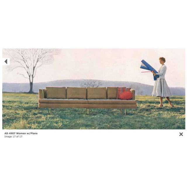 Cream Edward Wormley for Dunbar Sofa 4907 For Sale - Image 8 of 9