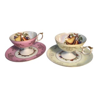 1940s Royal Halsey China Collector Tea Cups - Service for 2 For Sale
