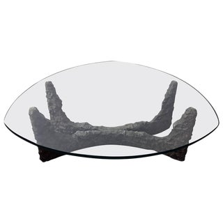 Mid-Century Bronze Brutalist Coffee Table in the Manner of Paul Evans For Sale