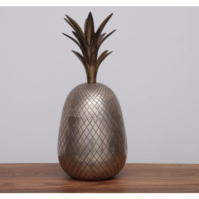 Extraordinary Huge Brass Pineapple Ice Bucket or Trinket or Candy Box For Sale - Image 4 of 4
