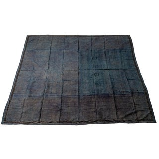 Indian Hand Dyed Blue and Tan Kantha Quilt For Sale