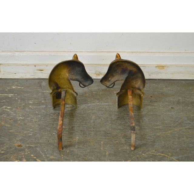 Horse Head Vintage Pair of Brass Fireplace Andirons For Sale - Image 11 of 13