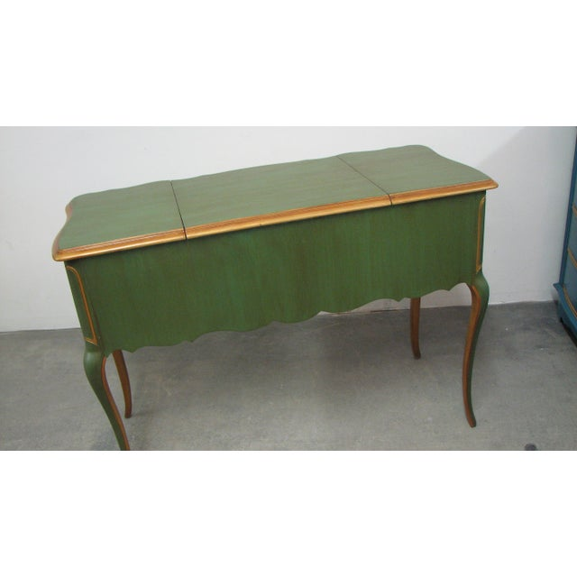 1970s Vintage French-Style Green & Gold Painted Writing Desk For Sale - Image 5 of 12
