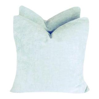 Ice Blue Linen Velvet Down Pillows - a Pair For Sale