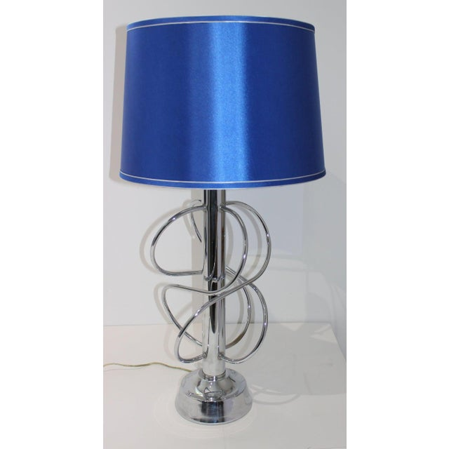 Vintage Scolari Style Table Lamp in Chrome and Blue Silk Shade For Sale - Image 10 of 13